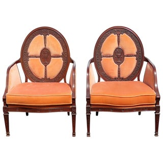 Carved Walnut Upholstered Armchairs - A Pair