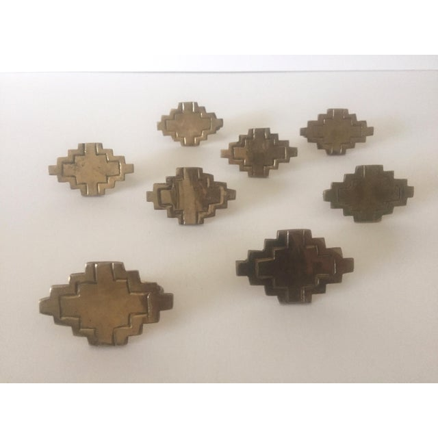 Vintage Brass Modernist Geometric Napkin Rings - Set of 8 - Image 5 of 7