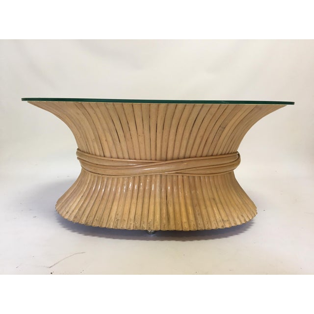 Sheaf of Wheat Rattan Oval Coffee Table - Image 3 of 7