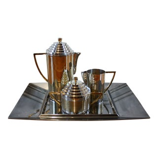 Art Deco Silver & Brass Coffee Set