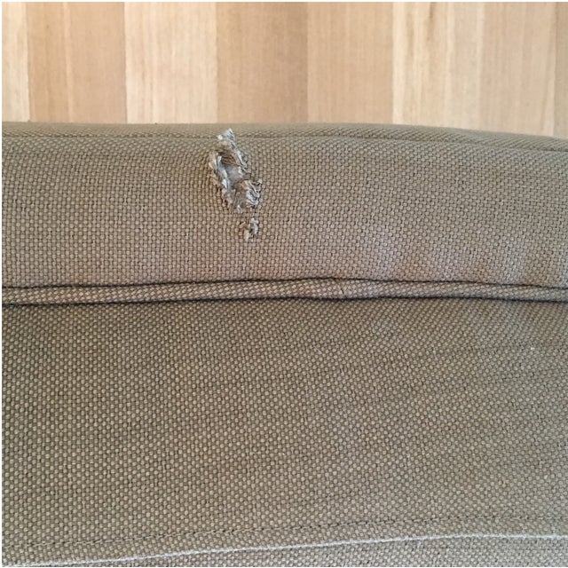 Mid-Century Linen Upholstered Two Piece Setional Sofa - Image 7 of 9