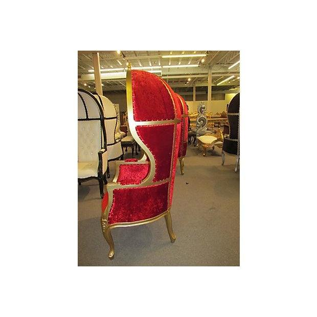 High-Back Velvet Canopy Chair - Image 5 of 8
