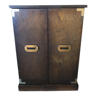 Campaign Style Brass and Walnut Cabinet