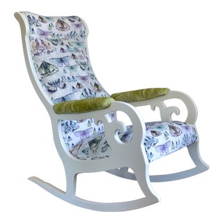 Upholstered Wood Rocking Chair in Antique White With Moth Print Velvet