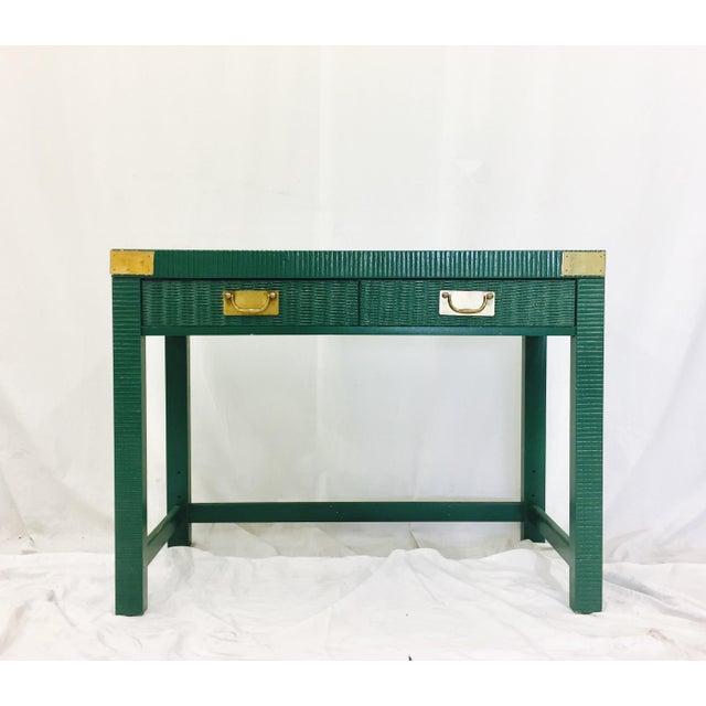 Vintage Mid-Century Campaign Green Desk - Image 11 of 11