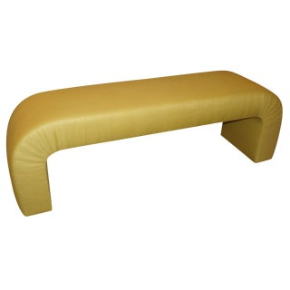 Upholstered 80s Art Deco Curved Bench