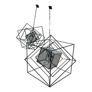 Large & Small Kelly Wearstler Cubist Large Chandeliers, Aged Iron - A Pair