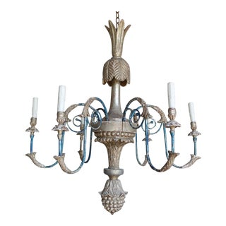 Italian Carved Silvered & Painted Chandelier