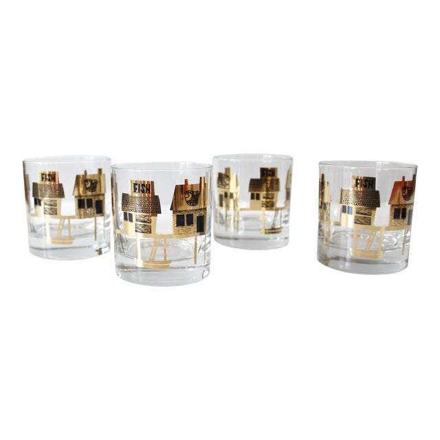 Black & Gold Couroc Mid-Century Fish Glasses - Set of 4 - Image 1 of 5