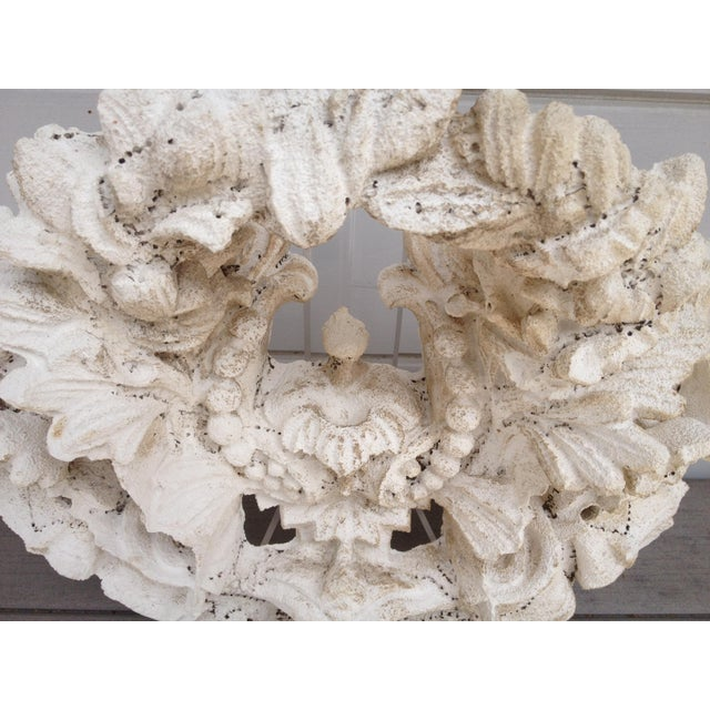 Image of Vintage Carved Tufa Stone Floral Architectural Sculpture