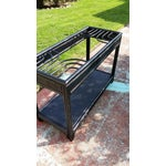 Image of Vintage Glass Top Rattan Console Table
