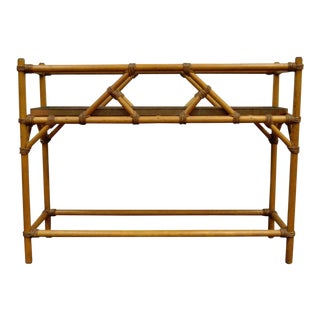 Vintage Mid-Century Modern Hollywood Regency Rattan Faux Bamboo Plant Stand