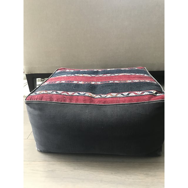 Bohemian Canvas Pouf Ottoman - Image 4 of 4