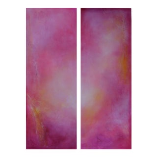 Pink Martini Original Modern Abstract Diptych
