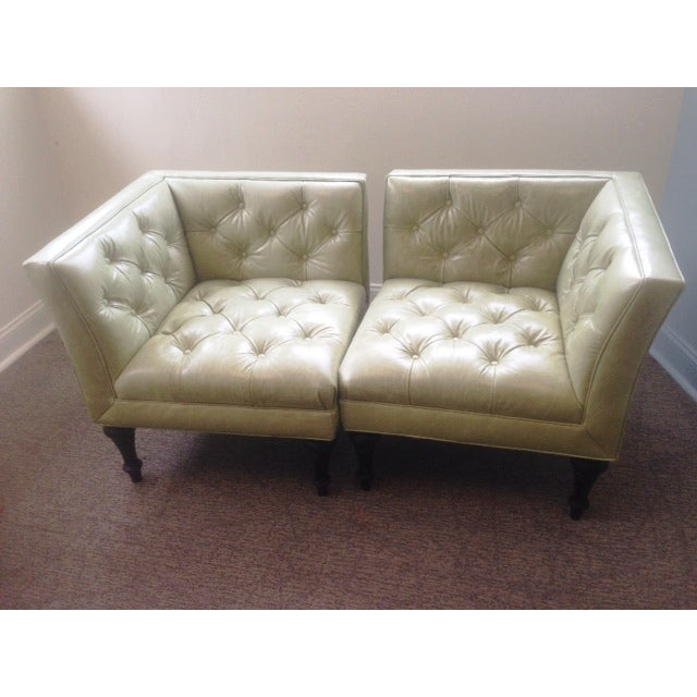 Image of Bernhardt Green Leather Salon Chairs - A Pair