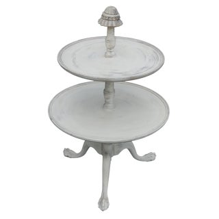 Vintage Two-Tier Claw-Foot Table