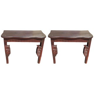 Pair of Black Forest Bear Motif Consoles
