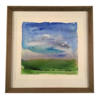 """""""Blue Skies"""" Framed Watercolor Painting"""