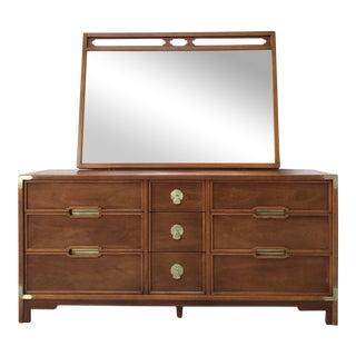 Drexel Mid-Century Compass Campaign Dresser & Mirror