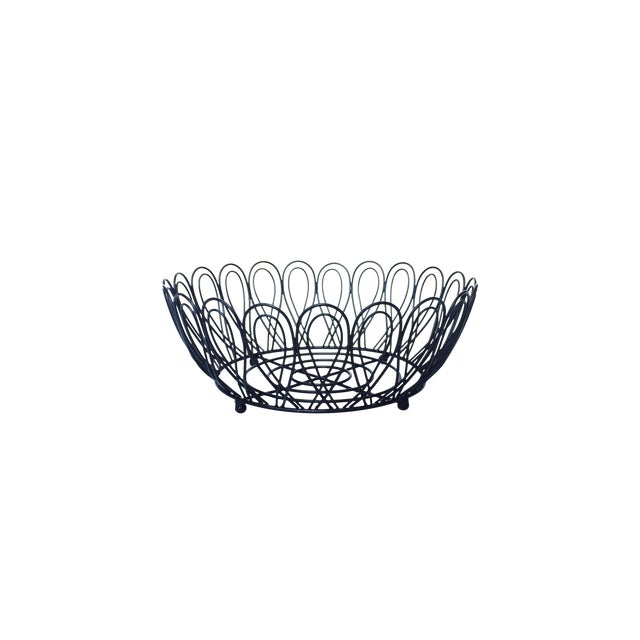 Mid-Century Black Metal Wire Fruit Basket - Image 1 of 3