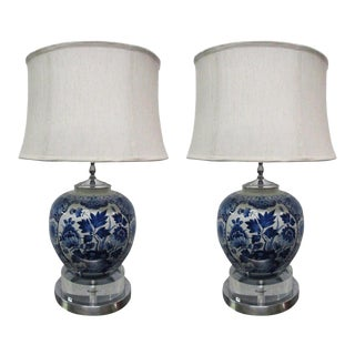 Pair of Chinese Porcelain Lamps with Chrome and Lucite Base