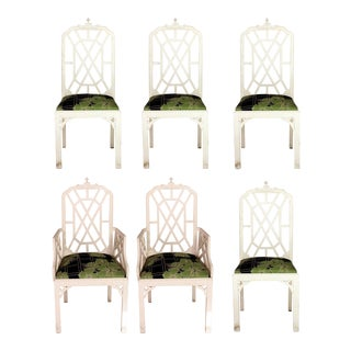 Vintage Chinoiserie Chippendale Dining Chairs - Set of 6