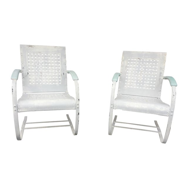 Mid-Century White Patio Chairs - A Pair - Image 1 of 7