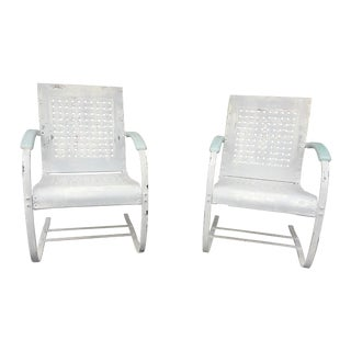 Mid-Century White Patio Chairs - A Pair