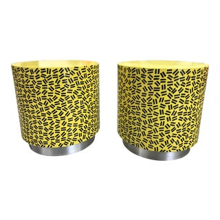Pop Art Post Modern Cylinder Side Tables -A Pair