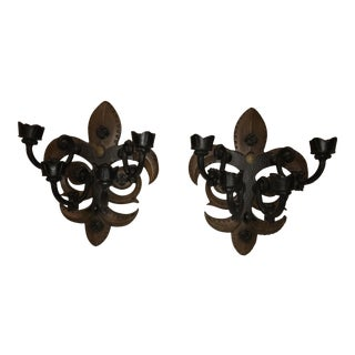 Crest Wood Wall Sconces - A Pair