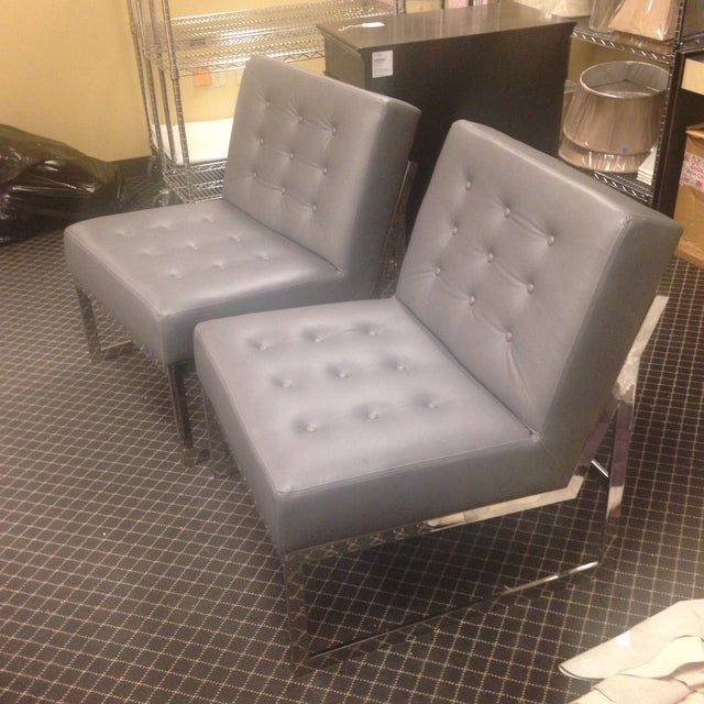Image of Leather & Chrome Accent Chairs - A Pair