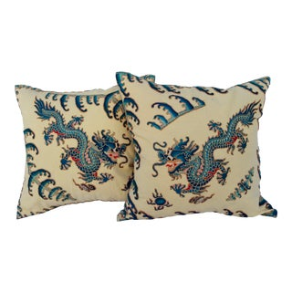 Chinese Embroidered Dragon Pillows - A Pair