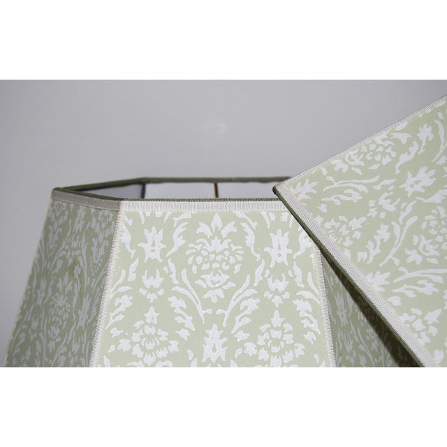 Image of Vintage Green Wallpaper Lampshades - A Pair