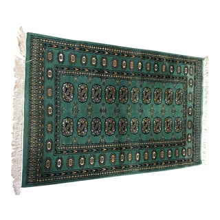 Green Hand Tied Area Rug - 3′1″ × 4′9″