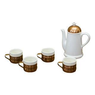 Vintage Copper Coffee Tea Set - Set of 5