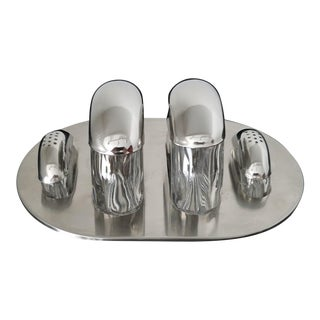 Mid-Century Stainless and Crystal Cruet Set - Set of 4