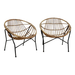 Wicker Rattan & Bamboo Lounge Chairs - a Pair