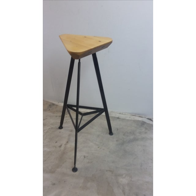 Delta Steel and Pine Stool - Image 2 of 6