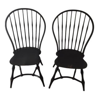 19th Century American Black New England Windsor Chairs - A Pair