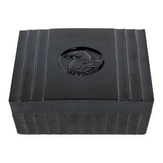 Art Deco Black Bakelite Box with Pegasus Center