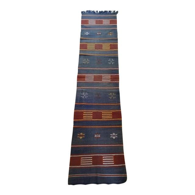 "Moroccan Cactus Silk Flat Weave Kilim Runner Rug - 25"" x 108"" - Image 1 of 11"