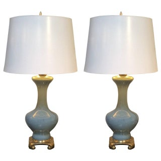 1950s Gilt Chinoiserie Porcelain Lamps - A Pair