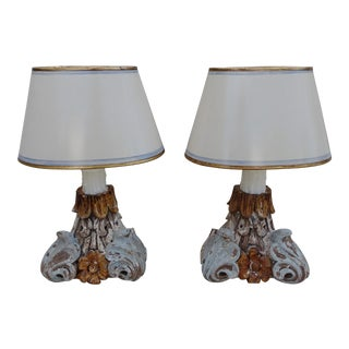 Pair of Petite Italian Paintd Lamps w/ Custom Parchment Shades