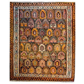 Incredible Early 20th Century Qazvin Kilim Rug
