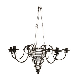 Indonesian Shabby Chic Style Bent Wire Candle Chandelier