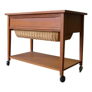 Mid Century Modern Teak Sewing Cart