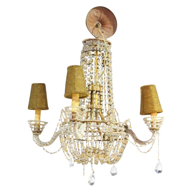 Petite French Empire Style Beaded Chandelier - Image 1 of 6