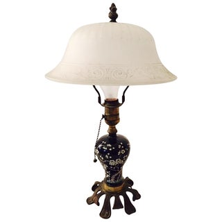 Antique Chinese Cloisonne Lamp Milk Glass Shade