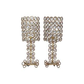 Vintage Gilt Rope-Twist & Crystal Lamps - A Pair
