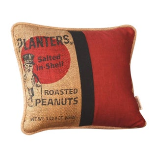 Mr. Peanut Burlap Pillow